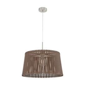 image-Eglo 96199 Sendero One Light Ceiling Pendant Light In Satin Nickel And Brown Wood - Dia: 450mm