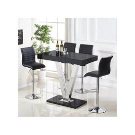 image-Vienna Glass Bar Table In Black Gloss And 4 Ripple Bar Stools