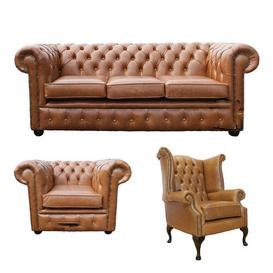 image-Chesterfield 3 Piece Leather Sofa Set Winchester Leather Ltd Upholstery Colour: Old English Black