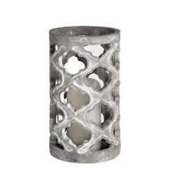 image-Hill Large Stone Effect Patterned Candle Holder