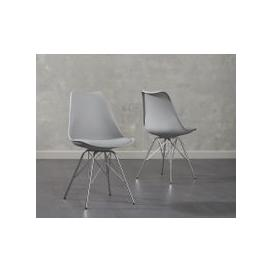 image-Calvin Light Grey Faux Leather Chairs (Pairs)