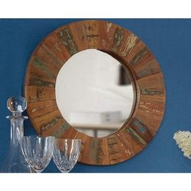 image-Coastal Reclaimed Wood Furniture Round Wall Mirror