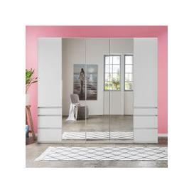 image-Danzig Mirrored Wardrobe In White With 5 Doors And 6 Drawers