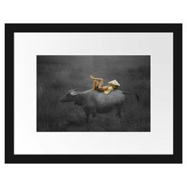 image-Child Lying on a Water Buffalo Framed Photographic Art Print Poster East Urban Home