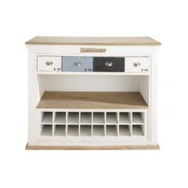 image-Distressed Wooden Bar Unit with Drawers in White W129 Molene