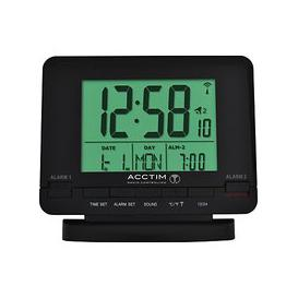 image-Acctim Radio Controlled Couples Digital Alarm Clock, Black