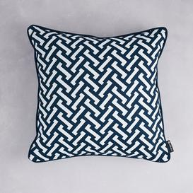 image-Florence Broadhurst Zig Zag Cotton Cushion (colour: Navy, size: 50x50cm)
