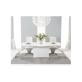 image-Modena 150cm White High Gloss Extending Dining Table with Ivory-White Hampstead Z Chairs