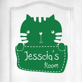 image-Personalised Kitty Rabbit Kids Door Room Wall Sticker Happy Larry Colour: Green