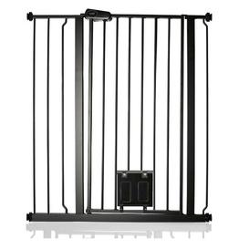 image-Maxen Safety Gate with Lockable Cat Flap Archie & Oscar Finish: Grey, Size: 104 cm H x 95.5cm W
