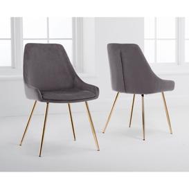 image-Mark Harris Florida Grey Velvet Dining Chairs (Pairs)