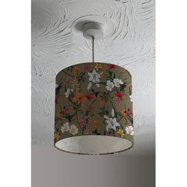 image-Selection of Flowers Cotton Drum Lamp Shade