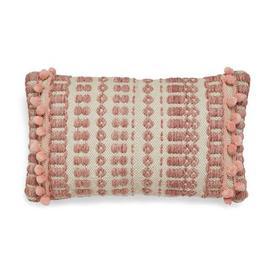 image-Textured Pom Pom Blush Cushion Blush and Beige