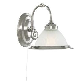 image-Searchlight 1041-1 American Diner 1 Light Wall Light In Satin Silver.