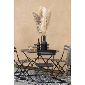 image-Black Metal Outdoor Table & Chair Bistro Set