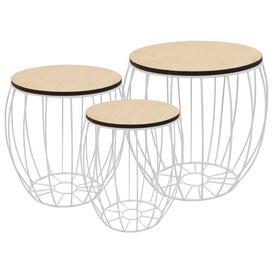 image-Isom Poplar Plywood Iron 3 Piece Coffee Table Set
