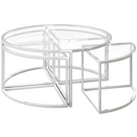 image-Omari Grande Glass and Chrome Coffee Table Set