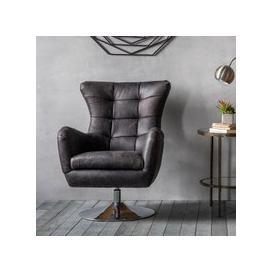 image-Jester Modern Swivel Lounge Chair In Antique Ebony Leather