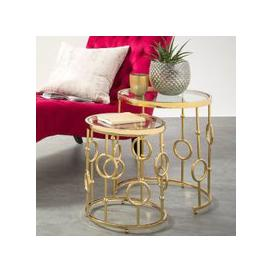 image-Osian Glass Nest Of 2 Tables And Gold Plated Stainless Steel