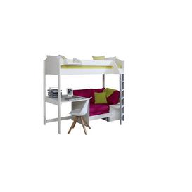 image-Trevino Single High Sleeper Loft Bed with Shelf and Desk Isabelle & Max Colour (Bed Frame): White, Colour (Fabric/Accessory): Pink