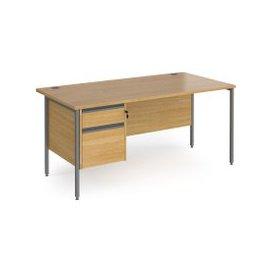 image-Value Line Classic+ Rectangular H-Leg Desk 2 Drawers (Graphite Leg), 120wx80dx73h (cm), Oak, Free Delivered & Fully Installed Delivery