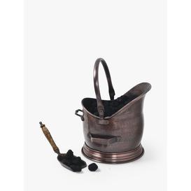 image-Ivyline Fire Place Coal Bucket & Scoop, Antique Copper, Small