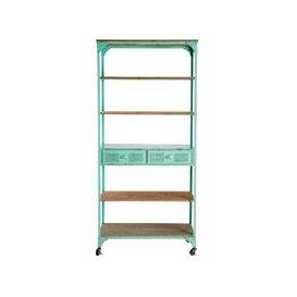 image-Green Metal and Fir 2-Drawer Display Shelf on Castors Brooklyn