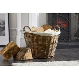 image-Wicker Log Basket with Removable Liner