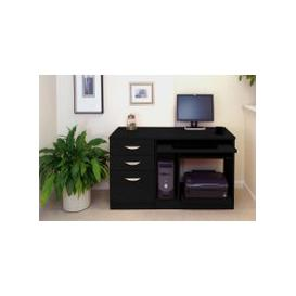 image-Small Office Desk Set With Computer Workstation & 3 Drawers (Black Havana)