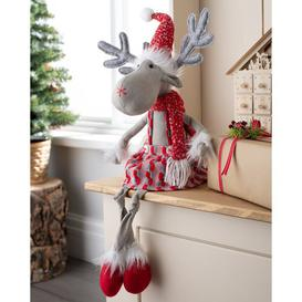 image-Sitting Christmas Girl Reindeer Figurine Three Posts