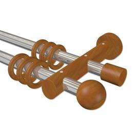 image-Sardis Curtain Pole Set Symple Stuff Size: 5cm H x 100cm W x 18cm D, Finish: Chrome/Cherrywood Varnished
