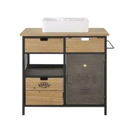 image-Fir and Metal 3-Drawer 1-Door Sink Unit Harvey