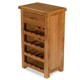 image-Earls Wooden Small Wine Rack In Chunky Solid Oak With 1 Drawer