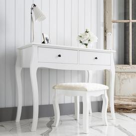 image-Camille Dressing Table and Stool in Classic White