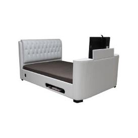image-Cosmo White Faux Leather Finish 6FT TV Bed