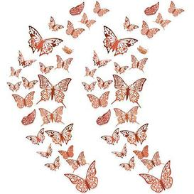image-48Pcs 3D Butterfly Wall Decals Sticker, MOTASOM Metallic Hollow-Out Art Decorations, Removable Mural DIY Home Decor for Kids Girls Bedroom Nursery Party Wedding (3 Styles+Rose Gold) - Brand New