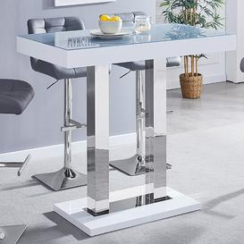 image-Caprice White Grey Glass Bar Table With High Gloss