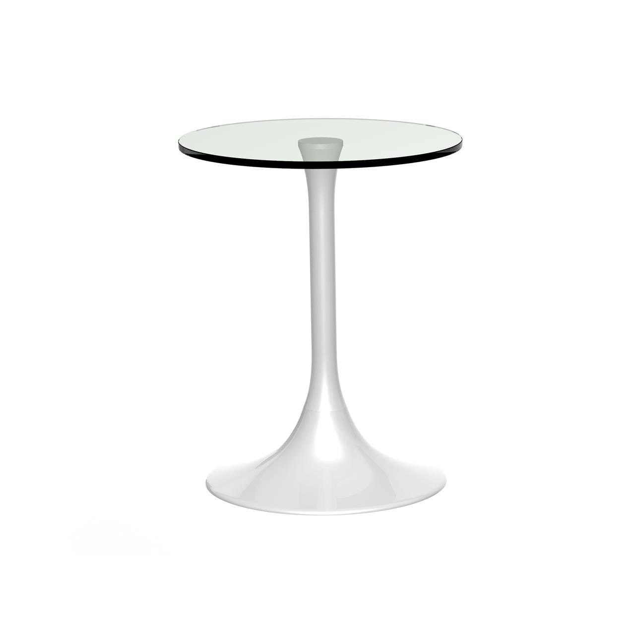 image-Swan round side table - Clear glass / white gloss base