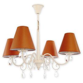 image-Jeffrey 4-Light Shaded Chandelier Lily Manor Shade Colour: Brown, Finish: Cream