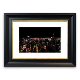 image-'Nyc Night Lights Architecture Can' Framed Photograph East Urban Home Size: 30 cm H x 40 cm W, Frame Options: Black