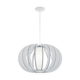 image-Eglo 95607 Stellato 2 One Light Ceiling Pendant Light In Wood, Glass And White - Dia: 500mm