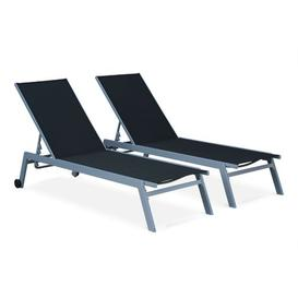 image-Dargan Reclining Sun Lounger Sol 72 Outdoor Colour: Blue/Black