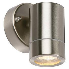 image-PALIN - GU10 Outdoor Single Wall Light in Brushed Stainless Steel - IP44 - 32952.