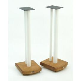 image-70cm Fixed Height Speaker Stand Symple Stuff Finish: White/Medium Bamboo