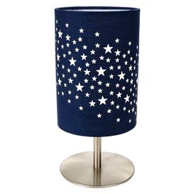 image-Beautiful Stars Decorated Children/Kids Midnight Blue Cotton Bedside Table Lamp By Isabelle & Max Isabelle & Max