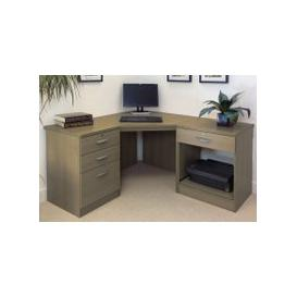 image-Small Office Corner Desk Set With 3+1 Drawers & Printer Shelf (English Oak)