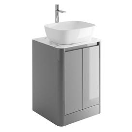 image-Morrison 550Mm Floor Standing Vanity Unit In Titanium Grey With Black Slate Marble Top