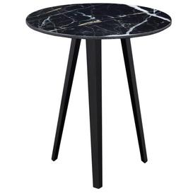 image-Voyage Marble Protea Print Furniture Black Marble Top Lamp Table