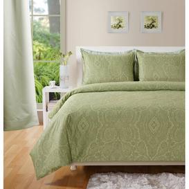 image-Lyon 400 TC Duvet Cover Set Marlow Home Co. Size: Double - 2 Pillowcases, Colour: Green