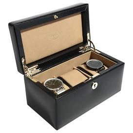 image-Dulwich Designs Windsor Leather 3 Piece Watch Box, Black